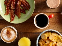 Latte, coffee, orange juice, potatoes and bacon