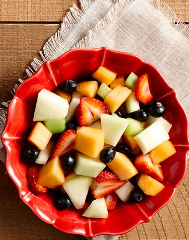 Fruit bowl cantaloup, honeydew melon, blueberry, strawberry
