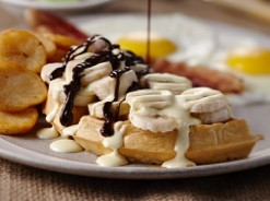Waffles with bananas, chocolate and custard