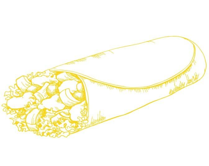 Illustration sandwich wrap aux légumes